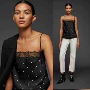New ANINE BING  Monroe Lace Camisole Silk Top